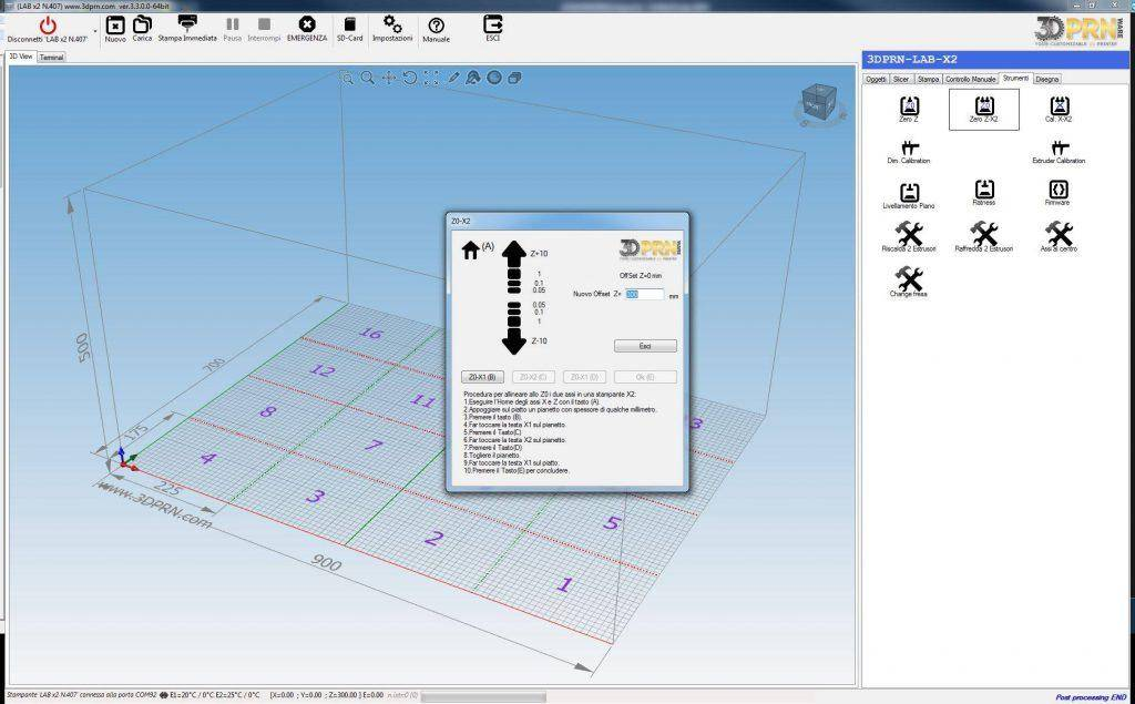 Software per stampante d Azzeramento asse Z in
