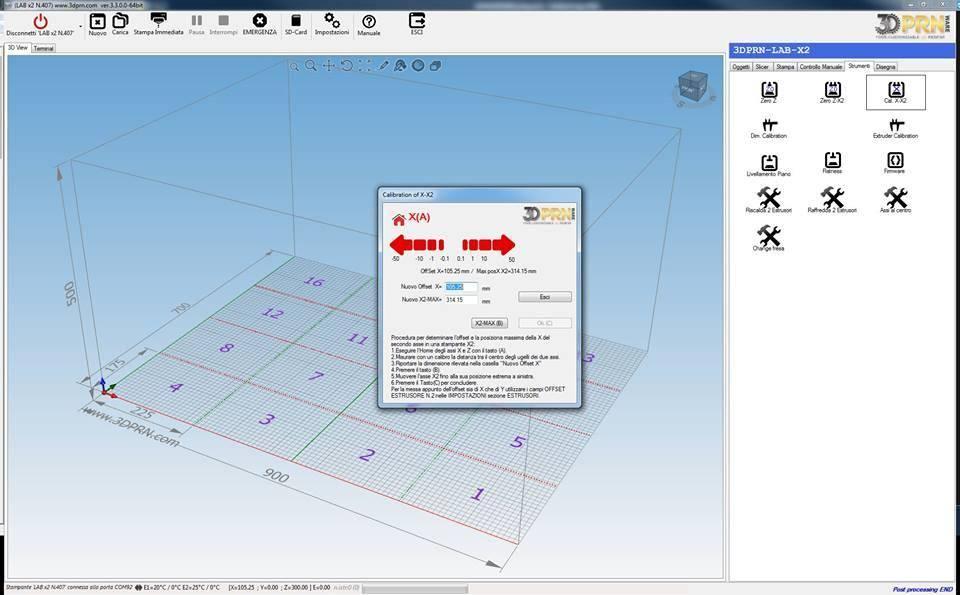 Software per stampante 3D calibrazione assi X in x2