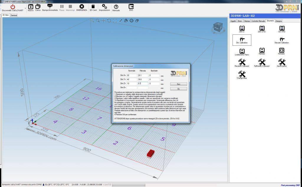 Software per stampante d calibrazione dimensioni
