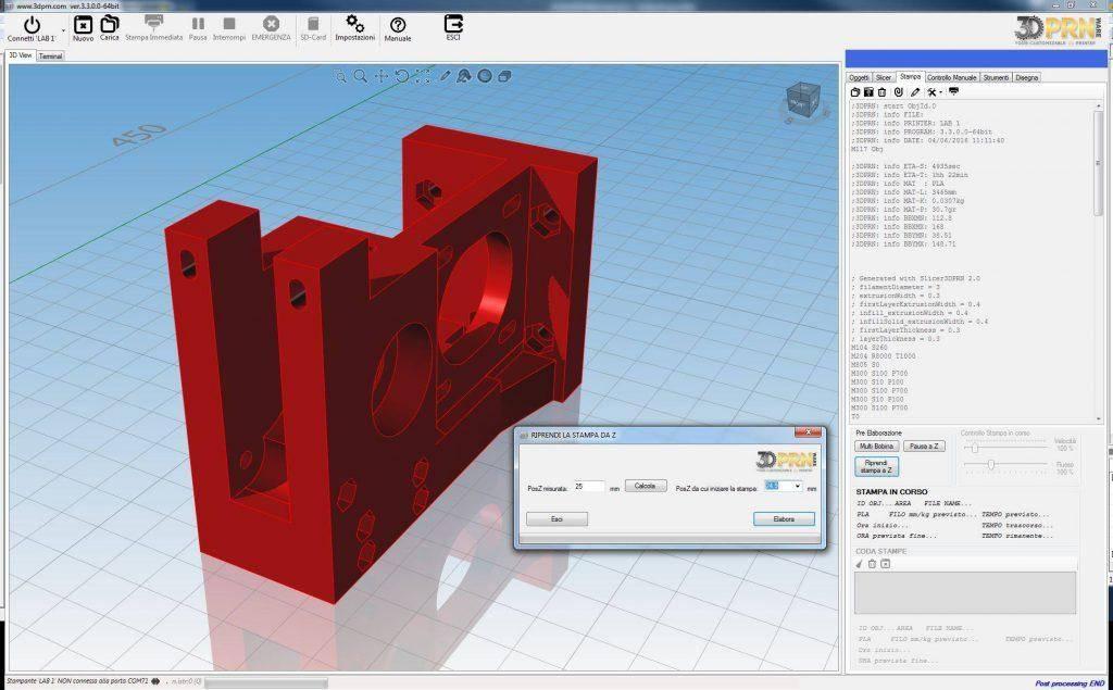 Software per stampante d ripresa stampa da Z